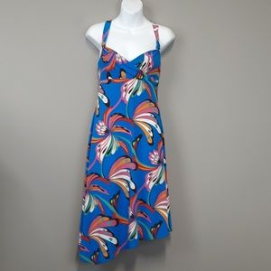 BCBG MAXAZRIA Blue/Pink Tropical Floral Midi Dress
